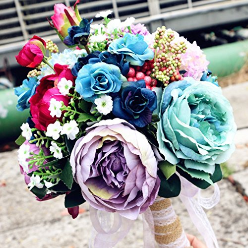 Gothic Wedding Bouquet Artificial Blue Purple Peony Vintage Bridal Flowers Bouquets Handmade Roses ramos de flores artificiales de la boda