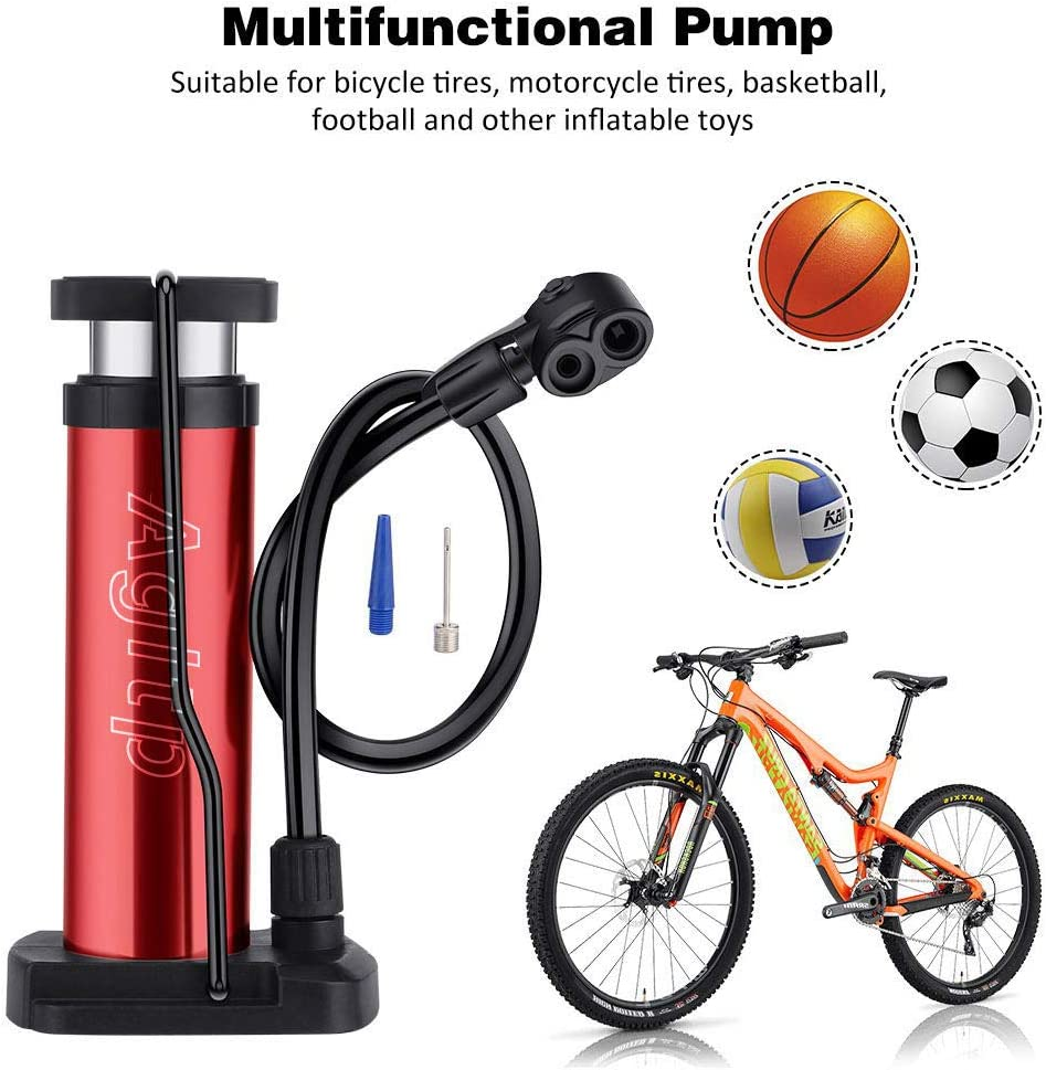 Agltp Bike Pump,Mini Bike Floor Pump Compact Mini Bicycle Tire Pump Compatible with Presta and Schrader Valve Portable Bicycle Pump,Aluminum Alloy Floor Bicycle Air Pump,Free Puncture Repair Kit