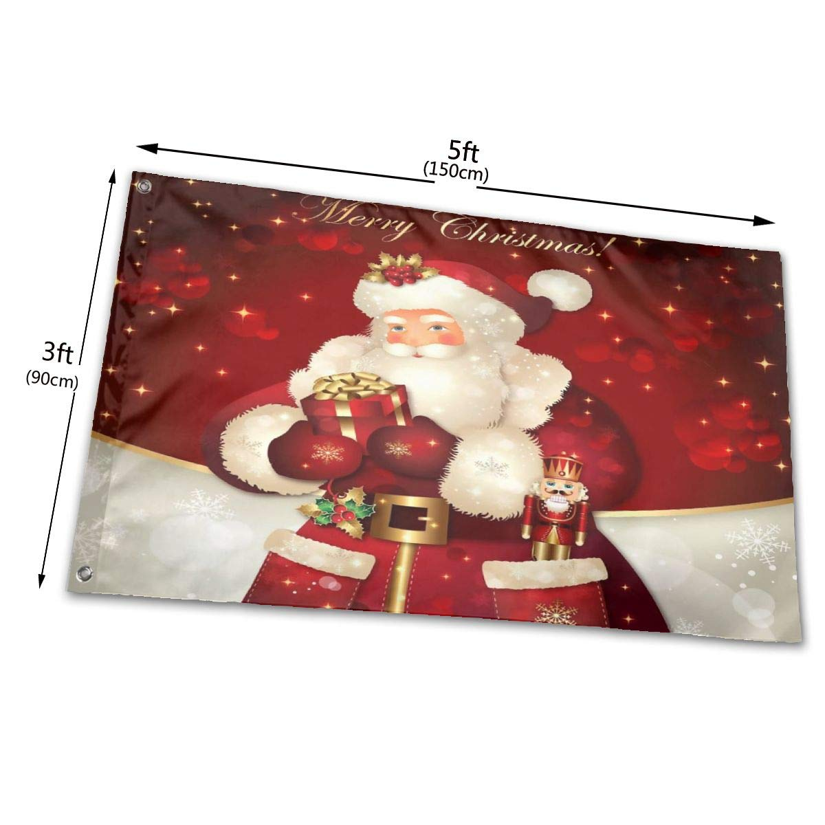 TS HOME ART 3x5 Foot Decorative Flag Merry Christmas Santa Present Outdoor Funny Floral Decorative Flags for Garden Yard Lawn Single Sided