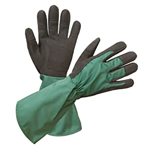 Long Cuff Rose Gardening Gloves - PROMEDIX - Rose Gloves, Cactus Gloves, Blackberry Gloves Thorn Proof Gloves for Man and Woman (L, Green)