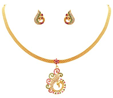 e1a03ce487 JFL - Exqusitie & Ethnic One Gram Gold Plated Ruby Red, Green, White Cz