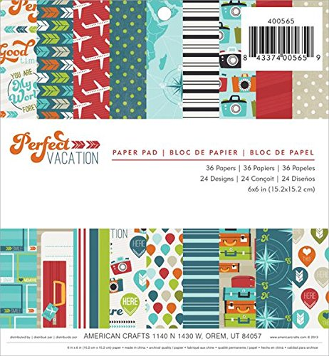 American Crafts 36 Sheets Imaginisce Perfect Vacation Paper Pad, 6 by 6-Inch