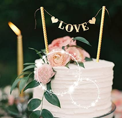 Amazon Com Love Wedding Cake Banner Topper Party Supplies