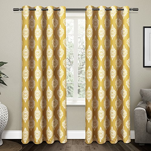 Exclusive Home Medallion Blackout Window Curtain Panel Pair with Grommet Top 52x84 Sundress Yellow 2 ()