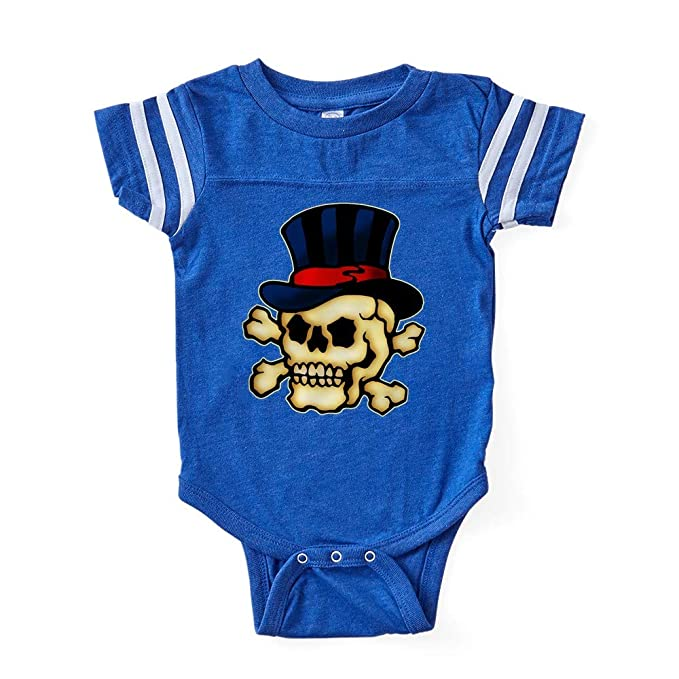 db2420455cecd CafePress Tat Skull Hat Cute Infant Baby Football Bodysuit Royal Blue