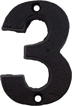 n/úmeros elegantes con acabado negro tornillos a juego incluidos N/úmeros de casa de 3,6 pulgadas Number 6 or 9 n/úmero de direcci/ón o buz/ón de correo de hierro fundido /único