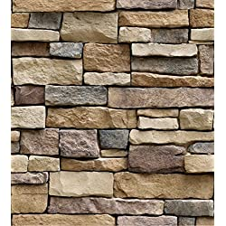 GURMORE 3D Stone Brick Wallpaper, PVC Peel and Stick Wallpaper for Home Design and Room Decoration (brick01)