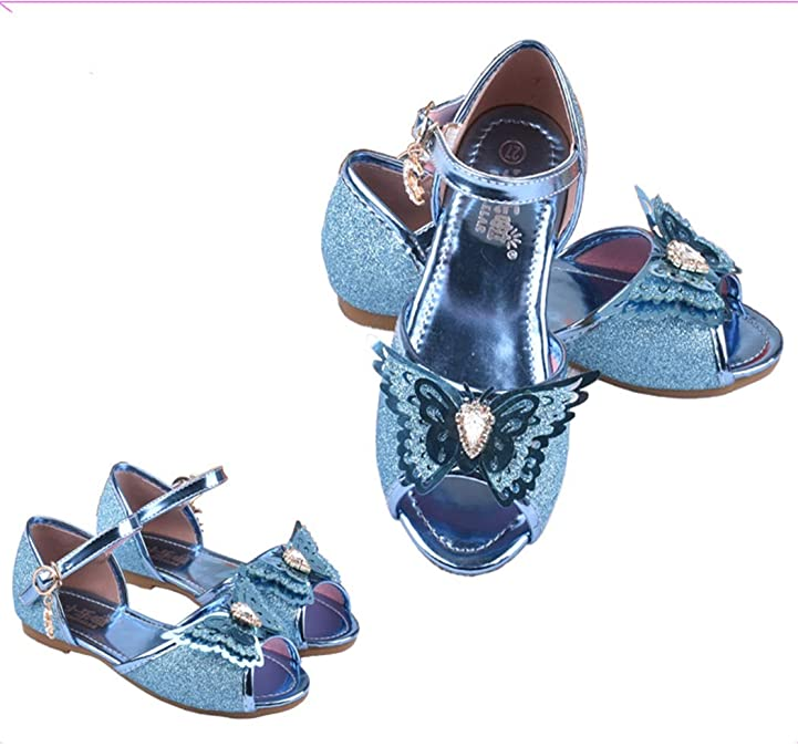 Raylans Kids Girls Glitter Cute Wing Sandals Princess Party Low Heels Dress Shoes