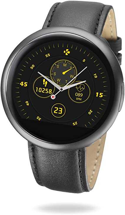MyKronoz ZeRound2 HR Premium Smartwatch with Heart Rate Monitoring and Smart Notifications, Swiss Design, iOS and Android - Brush Black / Leather ...