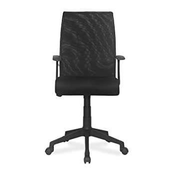 Nilkamal Thames FLOMMNETPSHT711BLK Medium Back Office Chair  Black  Desk Chairs
