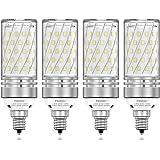 PAVOO E12 LED Light Bulbs, 12W LED Candelabra Bulbs 100 Watt Equivalent, 1200LM, 6000K Daylight White Ceiling Fan Light Bulbs, Decorative Candle Base E12 Non-Dimmable LED Chandelier Bulbs, Pack of 4
