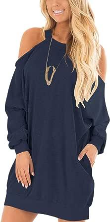 YOINS - Sudadera con hombros descubiertos, para otoño e invierno, manga larga, estilo informal, para otoño azul oscuro S