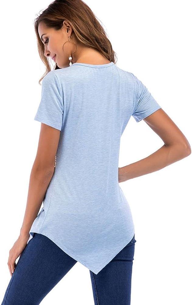 FAMILIZO Camisetas Mujer Verano Blusa Mujer Elegante Camisetas Mujer Manga Corta Algodón Camisetas Blanco Mujer Fiesta Rayas Largo Camisetas Mujer S~2XL (S, Azul): Amazon.es: Ropa y accesorios