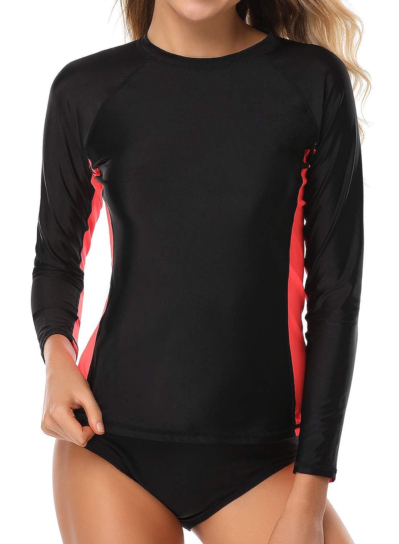 Black Palms & bluee Womens Long Sleeve Rashguard Swimwear UPF 50+ Rash Guard Swim Top
