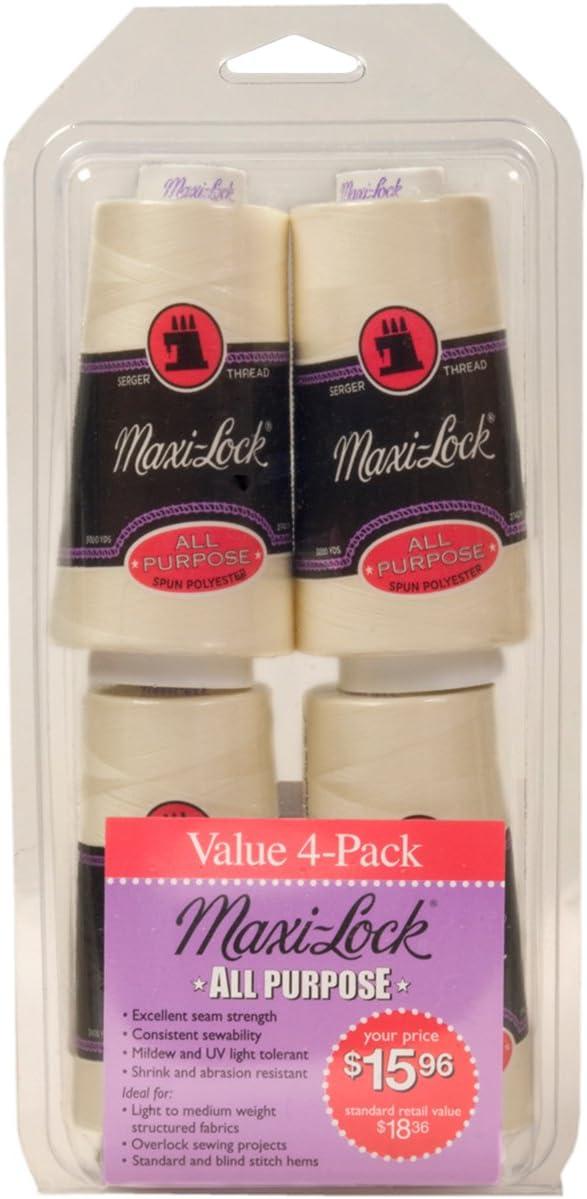 American & Efird Maxi-Lock All Purpose Value Thread Spool Pack, Eggshell
