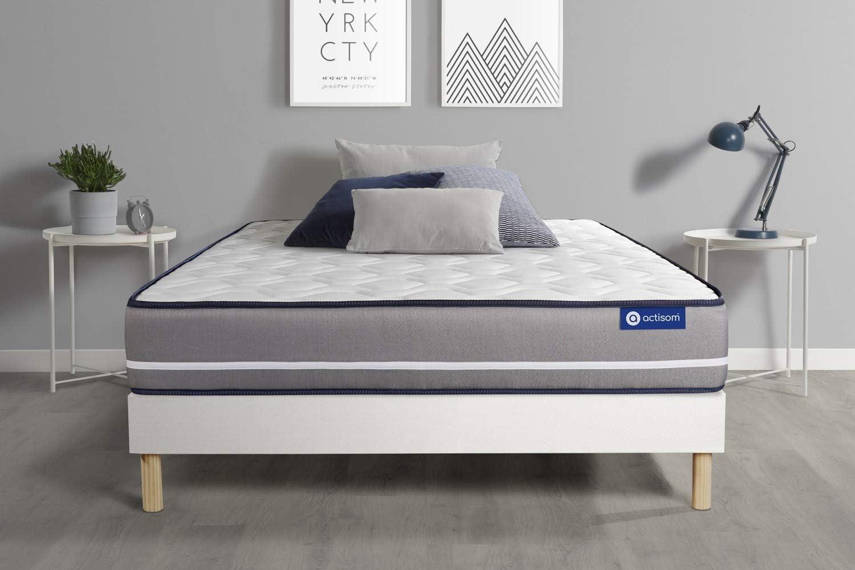 Epaisseur : 20 cm Ensemble Matelas /à m/émoire ACTIMEMO Pur 140x190cm 3zones de Confort Confort : Ferme sommier KIT Blanc