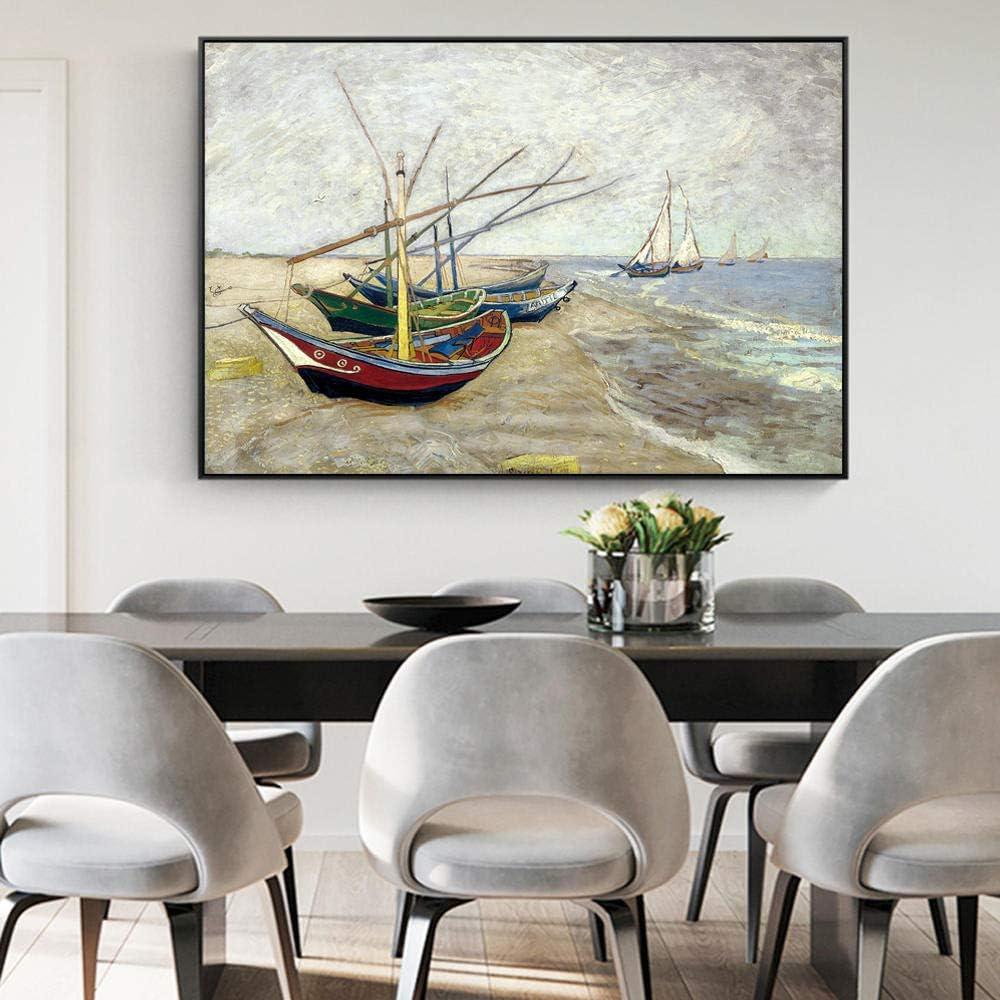 Lienzo Imprimir Famosos Obras de Arte Pesca Barcos En Playa Aceite Pinturas Abstracto Pared Arte Paisaje Marino Poster Moderno Salon Habitación Cuadros Decoracion 50X70cm No Enmarcado