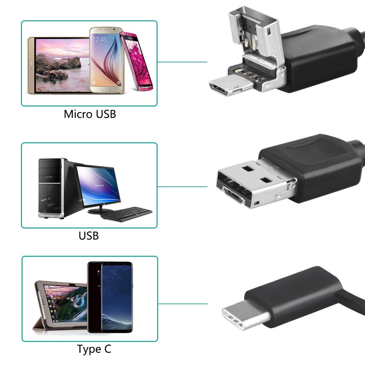 Windows y Mac PC para eliminaci/ón de Earwax 3 en 1 USB Otoscopios oreja Endoscopio Digital Alcance c/ámara de inspecci/ón con Micro USB /& USB-C dispositivos Android