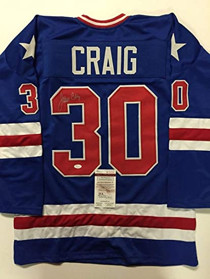 Image Unavailable. Image not available for. Color  Autographed Signed Jim  Craig Blue Team USA Miracle On Ice 1980 ... b96b320e4