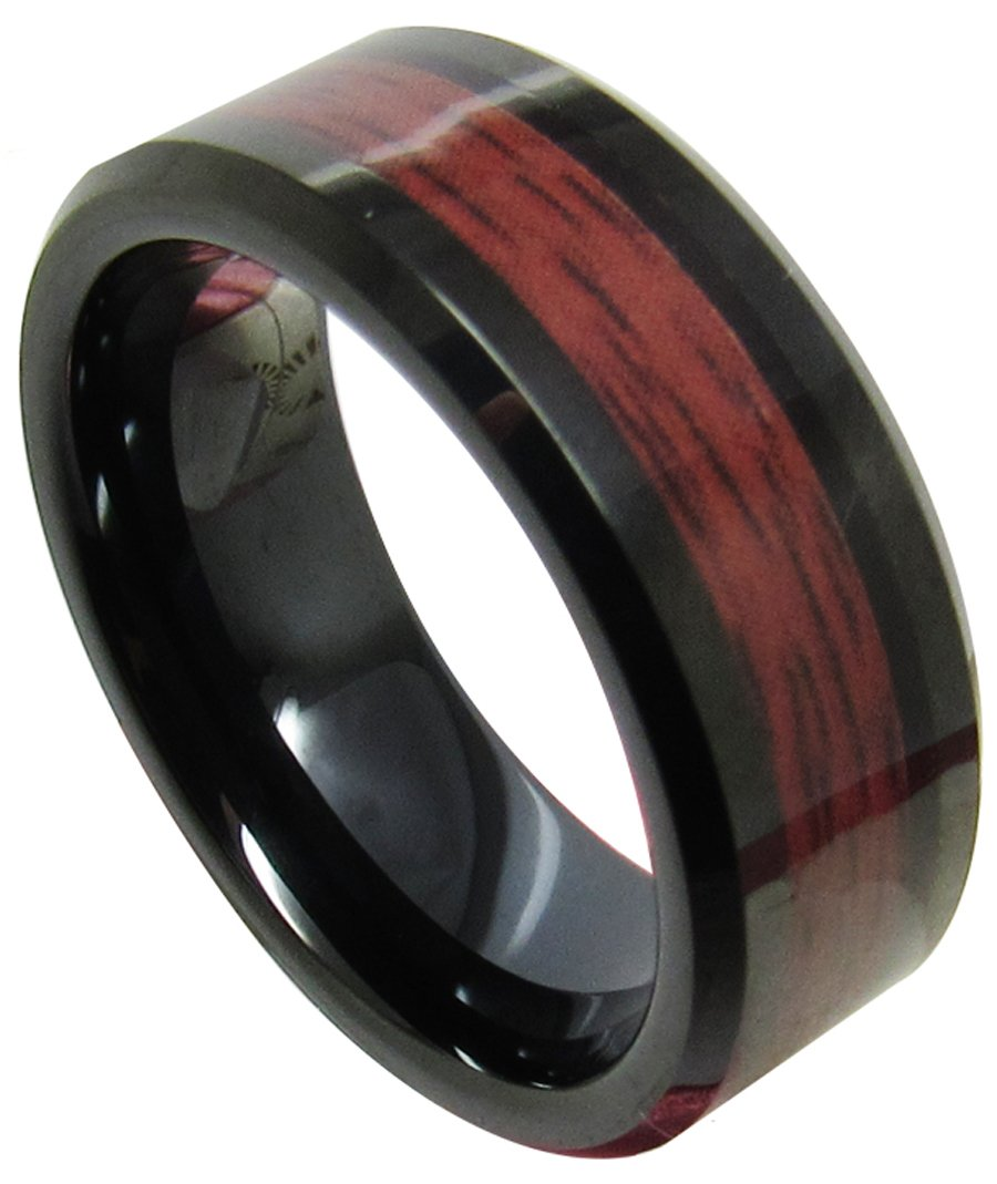 Black Tungsten Carbide Red Wood Inlaid Men's 8mm Domed Top Wedding Band Ring,Size 9
