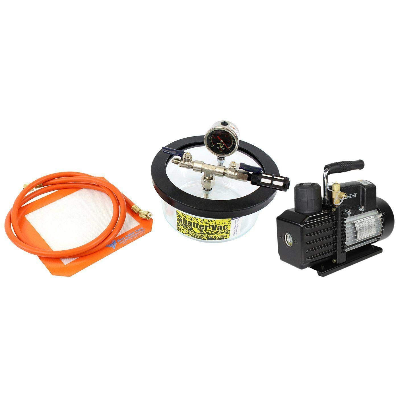 SVac 1.75 Quart Pyrex Vacuum Chamber and VE115 3CFM Single Stage Vacuum Pump Kit