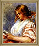"""Reader in a Caned Chair by Pierre Auguste Renoir - 21"""" x 26"""" Framed Premium Canvas Print"""