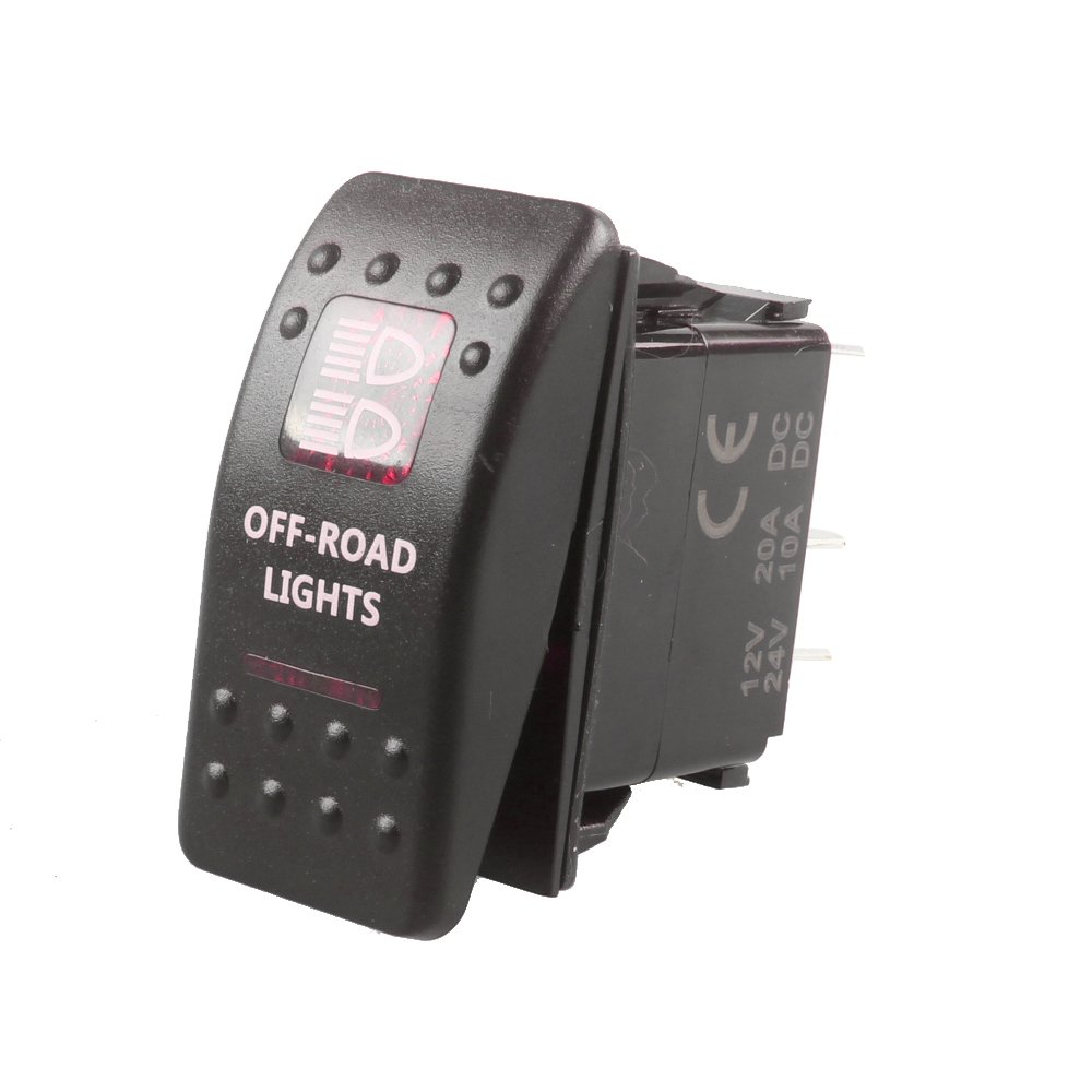 E Support/™ Interrupteur /¨/¤ Bascule Commutateur Lampe Lumi/¨/¨re LED Rouge 12V 20A pour Voiture Bateau Roof Light