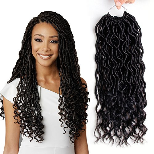 MOBOK 6Pcs/Lot Goddess Locs with Curly Ends Faux Locs Crochet Twist Braiding Hair Wavy Soft Synthetic Hair Extension 24 Roots (14inch(6-PACKS), 2)