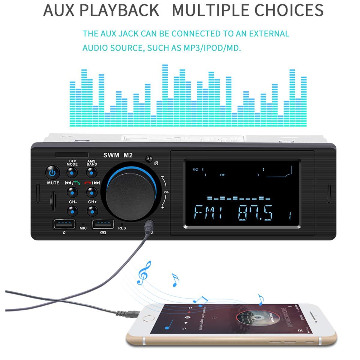 Autoradio Bluetooth telecomando senza fili lettore multimediale digitale SD//AUX//lettore MP3 con 2 USB di ricarica veloce autoradio radio FM supporta chiamate in vivavoce