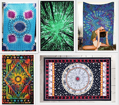 Future Handmade Wholesale Pack Of 5 Twin Tapestries Sun Moon Stars Bed Sheet Tapestry Wall Hanging Handmade Cotton Wholesale India Handmade Printed Bed Sheet Forest Tie Dye Astrolog Bed Sheet (PACK 3)