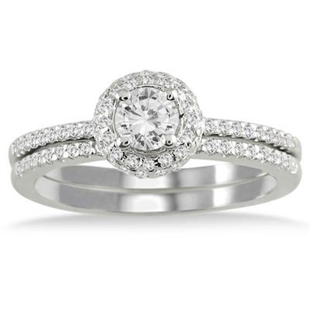 Dream Jewels Women's 5/8 Carat Diamond Halo Bridal Set In 14K White Gold Plated Alloy Dreamjewels Dream-111-$p