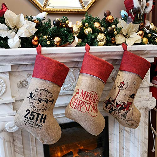 WEWILL 18'' Burlap Rustic Christmas Stockings Set of 3 Printed Snowman Penguin Blessings Gift Bag Home Holiday Decoration