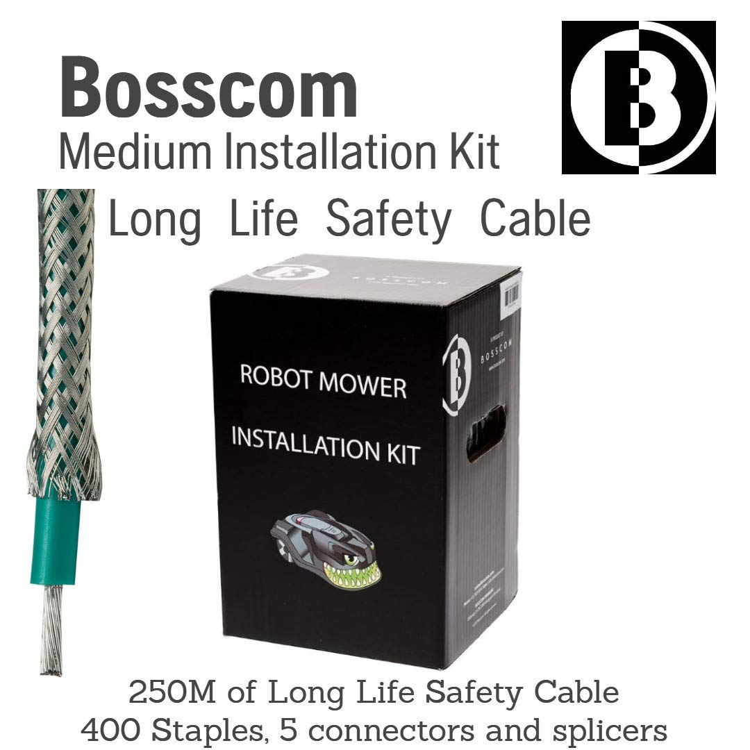 Bosscom Robotic Lawn Mower Installation Kit Long Life Safety Cable - for Husqvarna Automower, Honda Miimo, Robomow, Worx Landroid