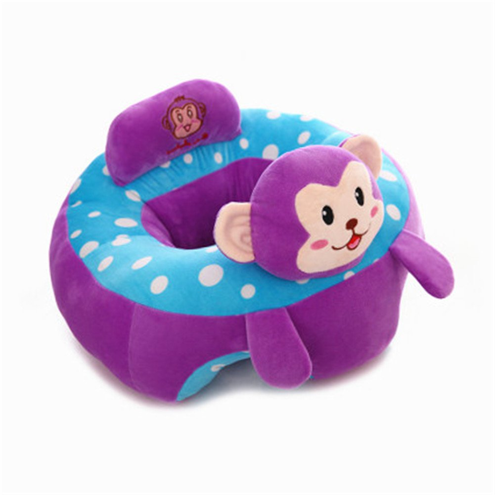 Infant Baby Sitting Chair Support,Soft Baby Support Seat Chair,Portable Dining Chair Support with Toys Attachment Safety Seat for Baby (Purple Monkey)
