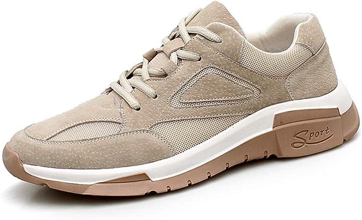 Zapatillas de deporte Zapatillas de deporte de moda para hombres Casual Malla de cuero Uppe Low Top Walking Running Senderismo Calzado deportivo Zapatos deportivos (Color : Beige , tamaño : 43 EU) : Amazon.es: Hogar