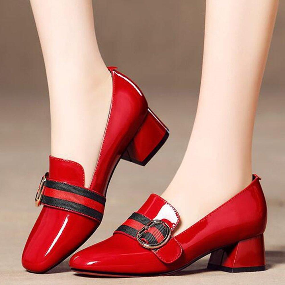 CJC Schuhe Damen Damen Damen Damen Spitz Zehe Klobig Niedrig Block Hacke Gericht Patent Gerichte Arbeit Party Flach Mund a187ab