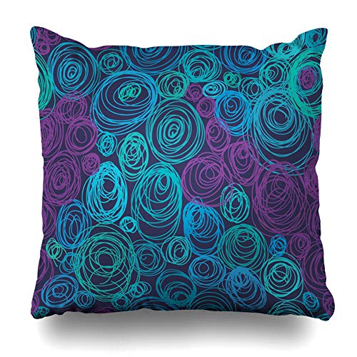 Ahawoso Throw Pillow Cover Square 16x16 Inches Pebble Blue Nouveau Abstract Beach Mystery Blotching Bright Circle Color Design Zippered Cushion Pillow Case Home Decor Pillowcase