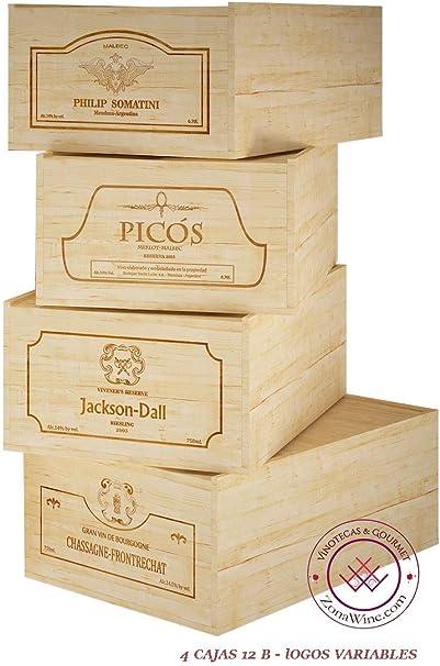 ZonaWine - Lote 4 Cajas de Madera para 12 Botellas de Vino/Logos ...