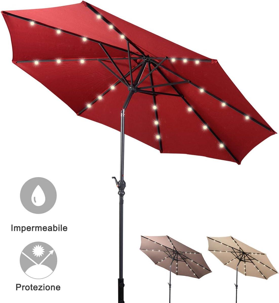 Beige DREAMADE Ombrellone con luci LED da Giardino Parasole da Esterno Spaggia /Ø300cm Vari Colori
