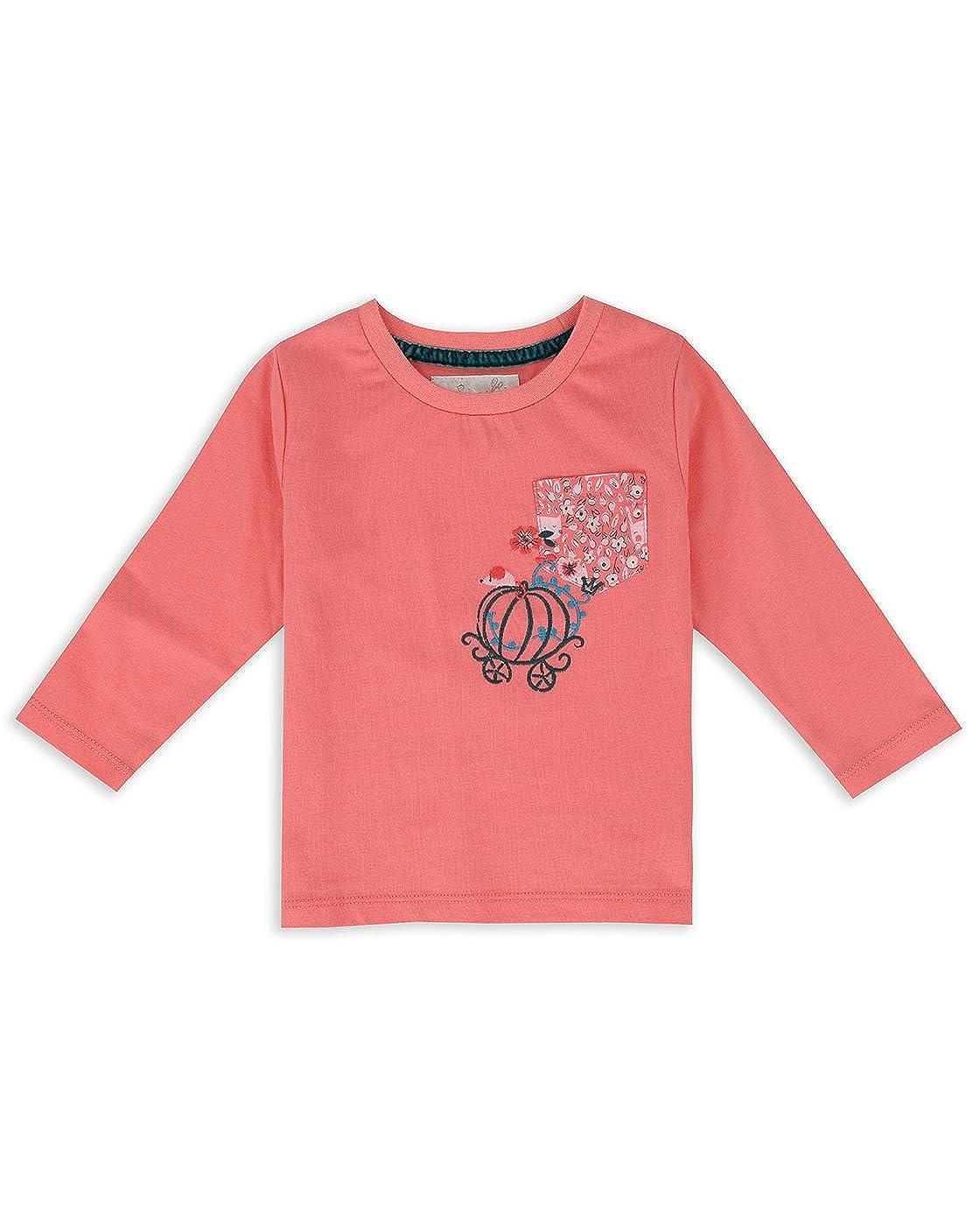 The Essential One Bebé infantil Niñas Bordado Camiseta de Manga Larga - Rosado - EOT521
