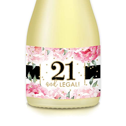 Womans 21st BIRTHDAY Party Ideas Mini Champagne Wine Labels Set Of 20 Count Girls TWENTY ONE Legal 35 X 175 Decals Celebrate 21 Twenty One