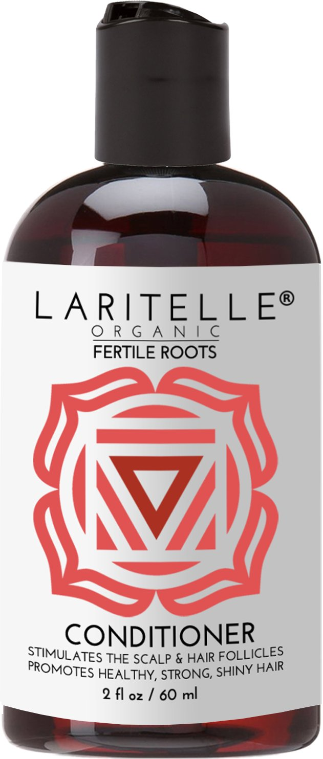 Laritelle Organic Travel Size Conditioner 2 oz | Fortifying, Strengthening & Rejuvenating | Stops Hair Shedding, Promotes Hair Growth | Ayurvedic Herbs, Lavender, Ginger, Rosemary, Patchouli & Cloves