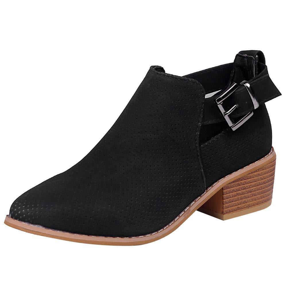 Zapatos Mujer, Mujeres Punta pies Zapatos Huecos Botines Hebilla Correa de tacón Cuadrado Solo Zapato Botas Botines Martin Plataforma Casual Zapatos Señora Calzado Piel Tacón Altas Dama Talla Grande