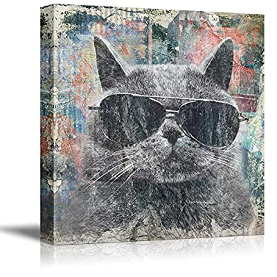 That You Will Love, Magnificent Artisanship, Square Cat Series Cool Cat with Black Sunglasses on Colorful Background