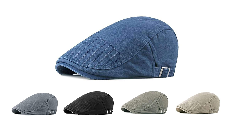 Mens Flat Cap Cotton Adjustable Duckbill Cap Newsboy Cap Ivy Cap Cabbie Hat