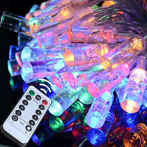 Homeleo 16.4ft 50 LEDs Color Changing LED Bottle Light on Flexible Silver String Remote LED Fairy Lights for Wedding Birthday Party Anniversary
