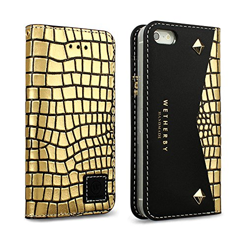 iPhone 5 / 5S / SE Case, DesignSkin Wetherby [Premium Black] 100% Handcrafted Genuine Cow Leather ID Credit Card Slot Paper Bill Storage Luxurious Wallet Case (Square Gold)