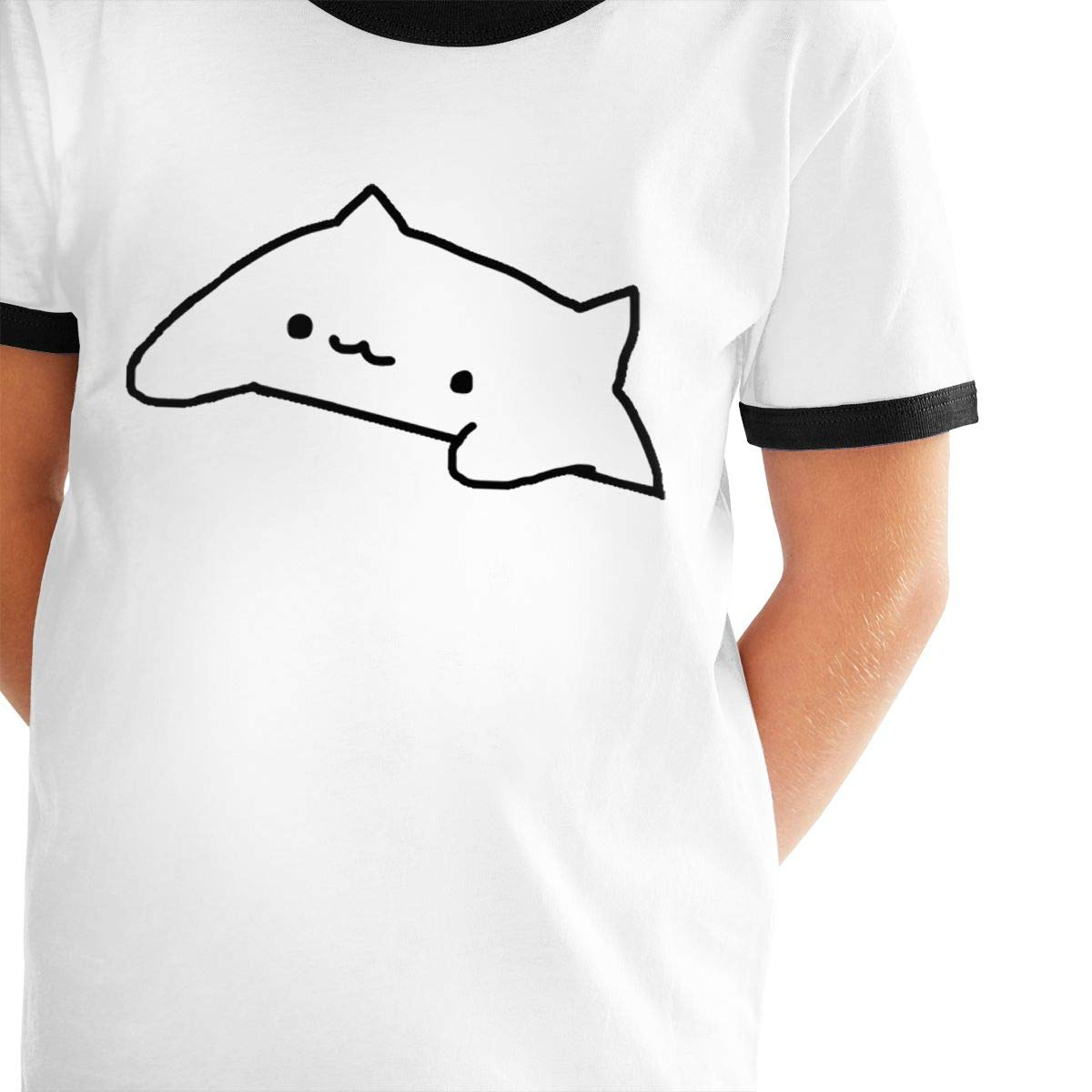 Cute Bongo Cat Unisex Childrens Short Sleeve T-Shirt Kids Or Little Boys and Girls