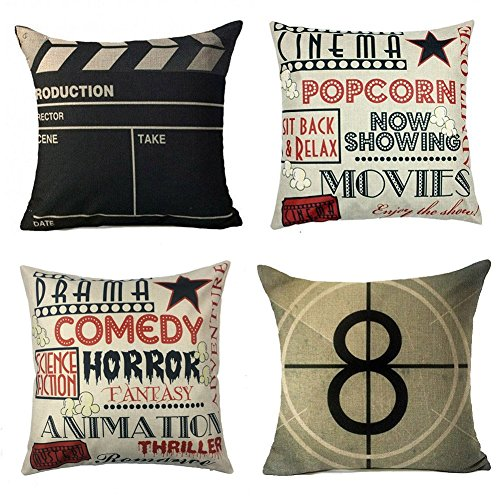 What to Watch & The Equipment You Need for a Fabulous Backyard Movie Night - Movie Theater Cinema Personalized Home Decor Design Throw Pillow Cover Pillow Case 18 x 18 Inch Cotton Linen for Sofa Set of 4