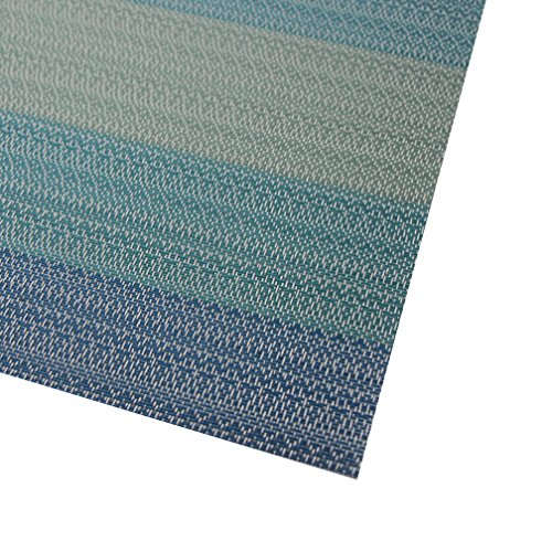 Placemats Washable Easy to Clean Pvc Placemat for Kitchen Table Heat-resistand Woven Vinyl Hard Table Mats 12x18 inches Set of 6 (Blue) by Bright Dream (Image #3)